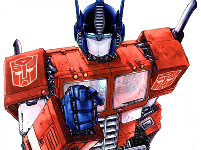 Optimus Prime waiting to be turned back into a truck at 6 am