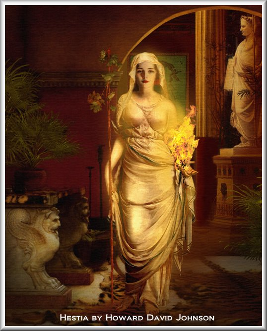 Hestia - Goddess of the Hearth. A man drew this. You can tell both by his name and the fact that the virgin of the hearth is showing major nip.