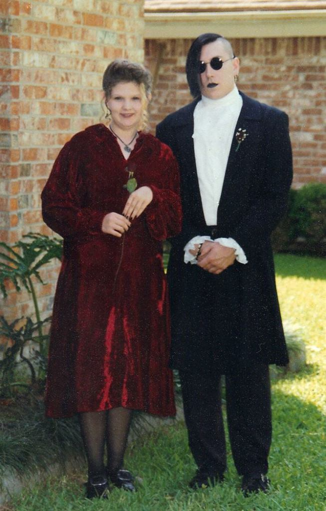 May 1993 all dressed up for a drama banquet. We moved in together a few months later. (I no longer shopped at the Gap.)