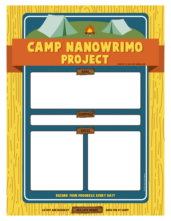 Free Printable Camp NaNoWriMo Project Sheet by Ava Love Hanna