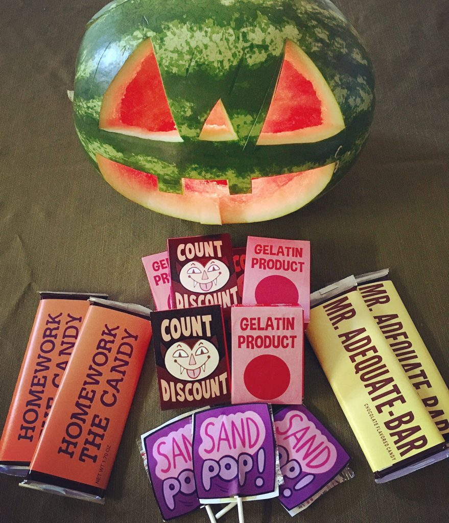 The official Team Hanna Summerween jack-o-melon and loser candy
